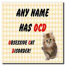 Funny Obsessive Disorder Cat Yellow Personalised Drinks Mat Coaster