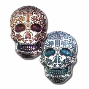 2 oz. 999 Fine Silver Sugar Skull - Day of the Dead - Cross - 3-D-New - IN STOCK