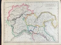 1829 NORTH ITALY HAND COLOURED ORIGINAL ANTIQUE MAP BY SIDNEY HALL 191 YEARS OLD
