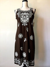 Charter Club Embroidered Beaded Cotton Dress Sz M