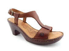 BORN Size 7 Brown Leather T-Strap Ankle Strap Sandals Shoes