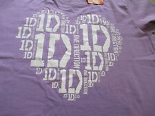 NWT One Direction Women Purple White Heart 1D T Shirt Size L Large
