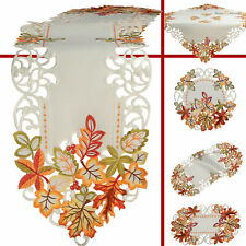 Autumn Fall Tablecloth Table runner Doily White Green Red Orange Leaf Embroidery