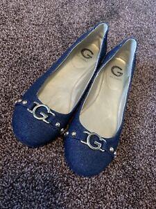 Euc G By Guess Women's Denim Blue Flats Fall Shoes Size 7 Us