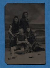 Tintype: 4 Victorian Swimmers- A Young Man Surrounded by 3 Young Women