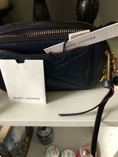 Marc Jacobs Dark Blue Pebbled Leather Camera Crossbody Bag