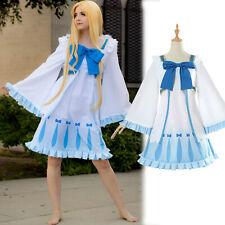 El aumento de la pletina héroe hilo Cosplay Vestido Niña Lolita Falda Moño Azul además