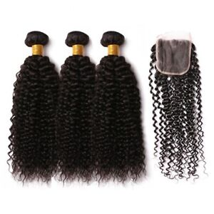 7A Jerry Curl Virgin Human Hair 3 Bundles With  4*4 Free Part Lace Closure