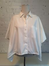 3.1 Philip Lim Cotton Batwing Sleeve Voluminous Cropped Blouse in White size 8