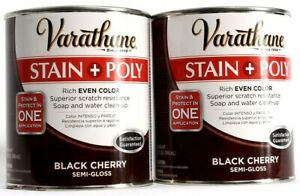 2 Varathane Stain Poly Black Cherry Semi Gloss Rich Even Color 32 oz