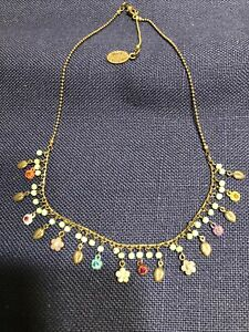 Michal Negrin Signed Delicate Necklace Flowers With Swarovski Crystals Victorian
