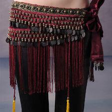 L XL Belly Dance Classical Fringe Skirt Hip Scarf Coin Belt Tribal Style Waist