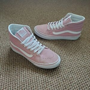 Vans Old Skool Sk8-hi Top Skate Shoes Pink and White Women's Size 7 Suede