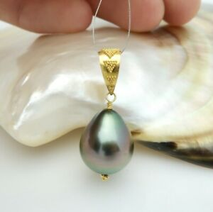 GORGEOUS SOLID 22K GOLD AAA TAHITIAN 12.5mm BLACK PEACOCK CULTURED PEARL PENDANT