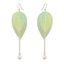 Crystal Drop Dangle Green Leaf Shape Earrings Bling Fashion Women Jewelry Gift