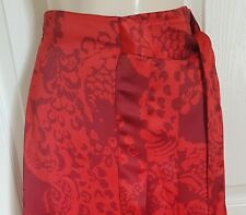M&S PER UNA RED MIX FLORAL WRAP STYLE SATIN PLEATED MIDI SKIRT SIZE 10  BNWT
