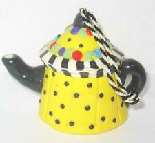 Mary Engelbreit Ornament Yellow Teapot Black Polka Dot Christmas Ornament