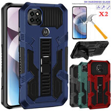 Case For Motorola Moto One 5G Ace, Full Body Built-in Kickstand + Tempered Glass
