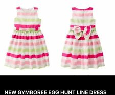 NEW Gymboree Egg Hunt Girls Pink White Green Striped Dress Sz 4 Bow EASTER