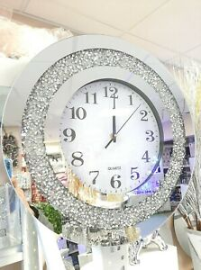 Round Analogue 40×40 CM  SILVER CRUSHED CRYSTAL DIAMOND FILLED SPARKL WALL CLOCK
