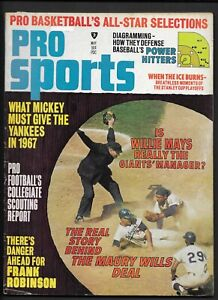 May 1967 Pro Sports Magazine   MAURY WILLS  Dodgers   MANTLE & MAYS Articles  VG