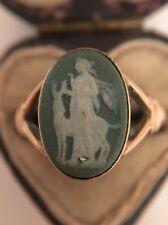 Antique Victorian Unusual Green Cameo Ring Pretty Ornate Yellow Gold