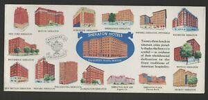 Sheraton Hotels (16 Sheraton Hotels pictured) blotter, circa 1950s.