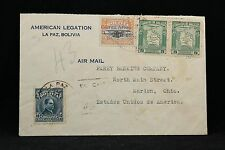 Bolivia: La Paz ca. 1937 American Legation Airmail Cover to the USA