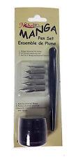 Set Scrittura MANGA c/5 Pennini + 1 MANICO + 1 Flacone INK NERO DOM ARTE by CWR