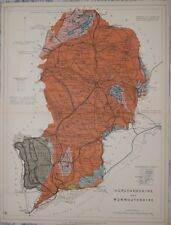 HEREFORDSHIRE AND MONMOUTHSHIRE - STANFORD'S GEOLOGICAL ATLAS, PUBLISHED 1914.