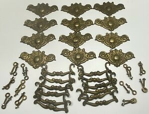 Set of 12 Antique RITTERWARE Solid Brass Drawer Pulls with Hardware