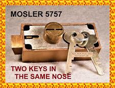 MOSLER 5757 BANK SAFETY DEPOSIT BOX LOCK - TWO KEYS in SAME NOSE - VERY RARE