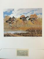 1987 New York Migratory and Conservation Print w 2 Stamps, one artist signed