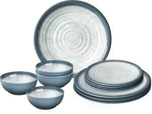 MARINE LUXURY MELAMINE Table Set With Non Slip Non Rattle Base MOTORHOME PLATE