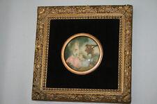 Gemälde Bild Antik Barock Gold Rund WANDDEKO Bilderrahmen Vintage Musiker Sänger