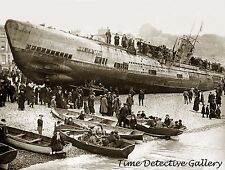 WWI German U Boat on Southern Coast of England - 1919 - Historic Photo Print