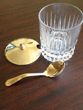 Fostoria Heritage Jam Condiment Set 24% Lead Crystal Gold Plated In Box Vintage