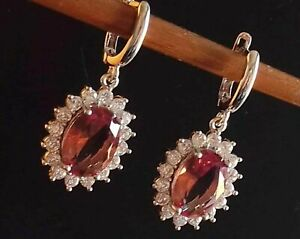 AAA QUALITY STERLING 925 SILVER JEWELRY PLAY OF COLOR DIASPORE GEMS // EARRINGS