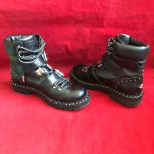 JIMMY CHOO BREEZE FLAT BLACK LEATHER LACE-UP STUD BIKER ARMY COMBAT BOOTS 36.5