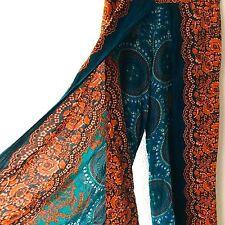 Womens Pants Sz M Wrap Wide Leg Cotton Multi Paisley Floral Cropped Boho Thai