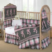 Browning Pink & Gray Plaid Crib Set, Baby Toddler Bedding 7 Pc Buckmark