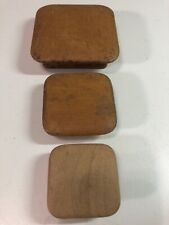 Lot Of 3 Square Wood Vintage Round Edge Antique Cabinet Knobs Drawer Pulls