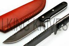 "IKK 315 CUSTOM MADE HUNTING KNIFE | FULL TANG | BLACK MICARTA HANDLE 10""."