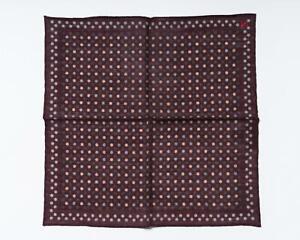 "Isaia $120 Maroon Gray Beige Polka Dot Pocket Square Wool Silk Blend 13"" 33 cm"