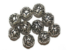 14mm Round Rosebud Antiqued Silvertone Metalized Metallic Beads