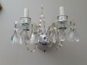 Vintage Chrome Crystal Prism Double Arm Light Wall Sconce Mcm Glam Hollywood
