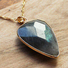 Gold Edged Faceted Labradorite Pointed Oval Shaped Pendant