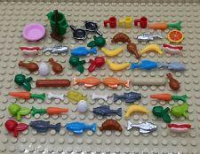 lego Food and custom food cups, plates, food, chicken, fish, egg, bundle job lot
