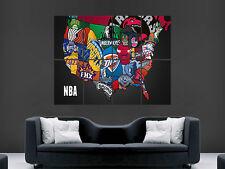 BASKET NBA mappa degli Stati Uniti in crests SCUDETTI ARTE ENORME GIGANTE POSTER stampa grande