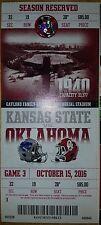 OU Oklahoma Sooners vs Kansas State Ticket Stub